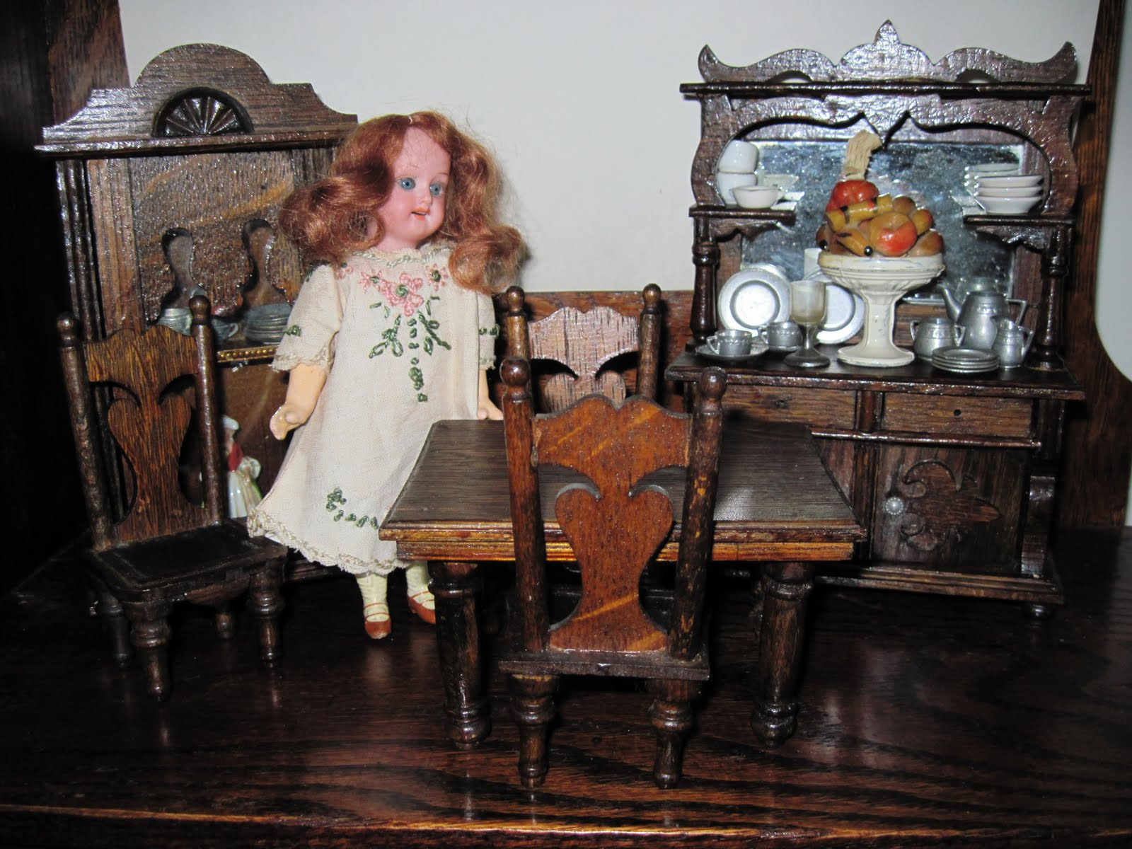 The Tallest Piece, The Buffet, Measures 8 Inches Tall. Below, An Old German  Doll And 1920s Schuco Miniature Bear Find The Set To Be Just Their Size.