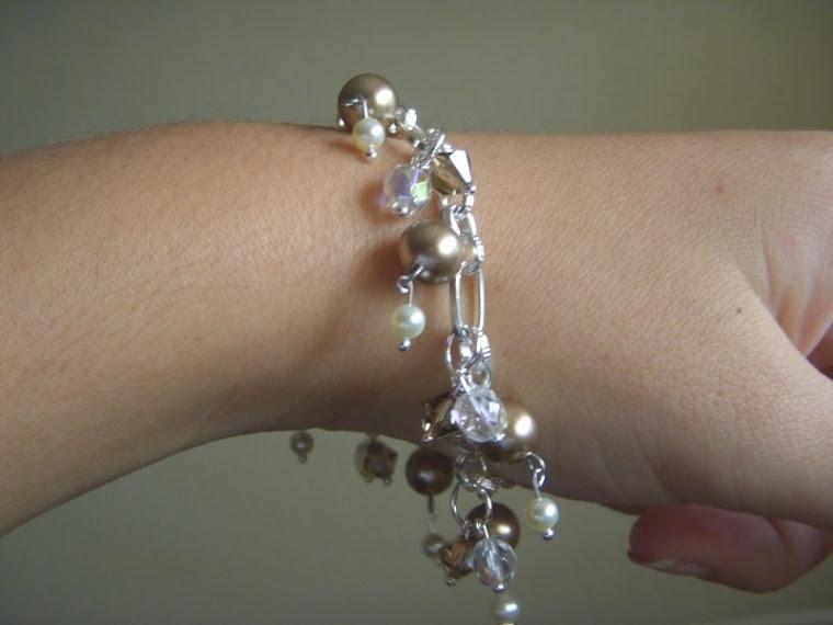 Bronze pearls and Swarovsky beacelet