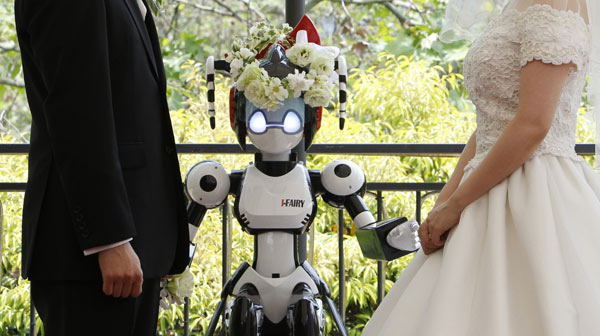 Image result for caricature of a robot preacher