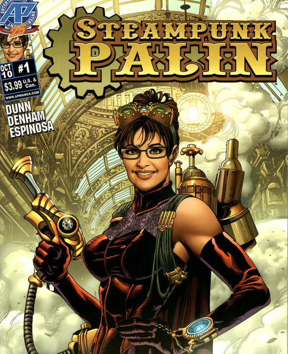 a comic book cover featuring Sarah Palin in a steampunk outfit