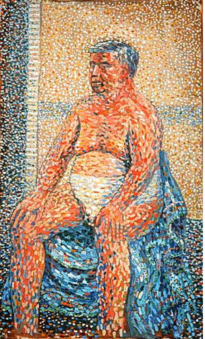a garish orange pointalist painting of a seated man