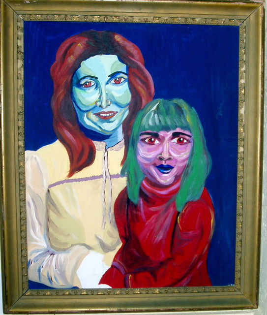 a mother and child poorly painted in ghastly colors