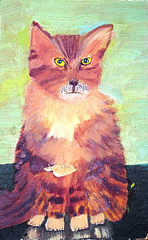 a poor painting of an angry orange cat