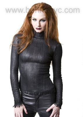 leather mockneck top