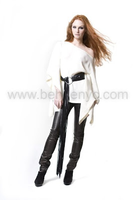 white silk tunic and leather leggings