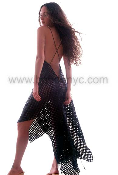 custom made pieced leather gown