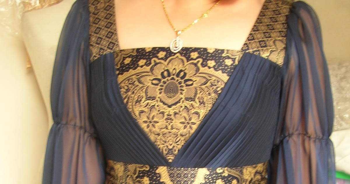 desainer model gaun pesta batik blue navy elegant