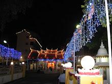 Entrance to SKE Temple lighted up