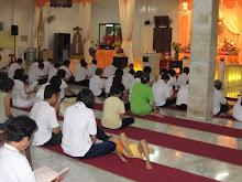 Devotees chanting before Wesak