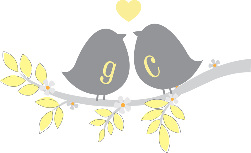 Custom Logo Two birds sitting in a tree KISSING