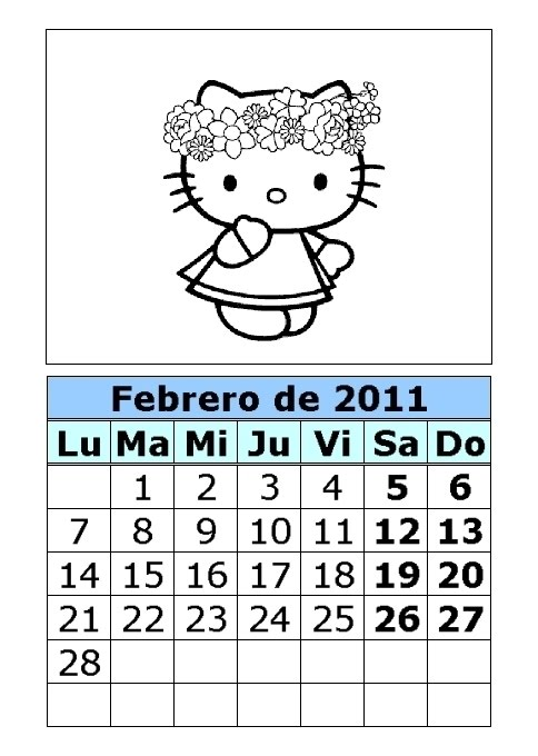 Calendario de Hello Kitty para colorear de 2011 (1ª parte)