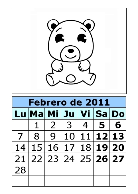 Calendario de ositos para colorear de 2011 (1ª parte)
