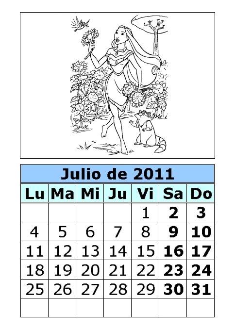 calendario 2011 para imprimir. Calendario de Pocahontas para