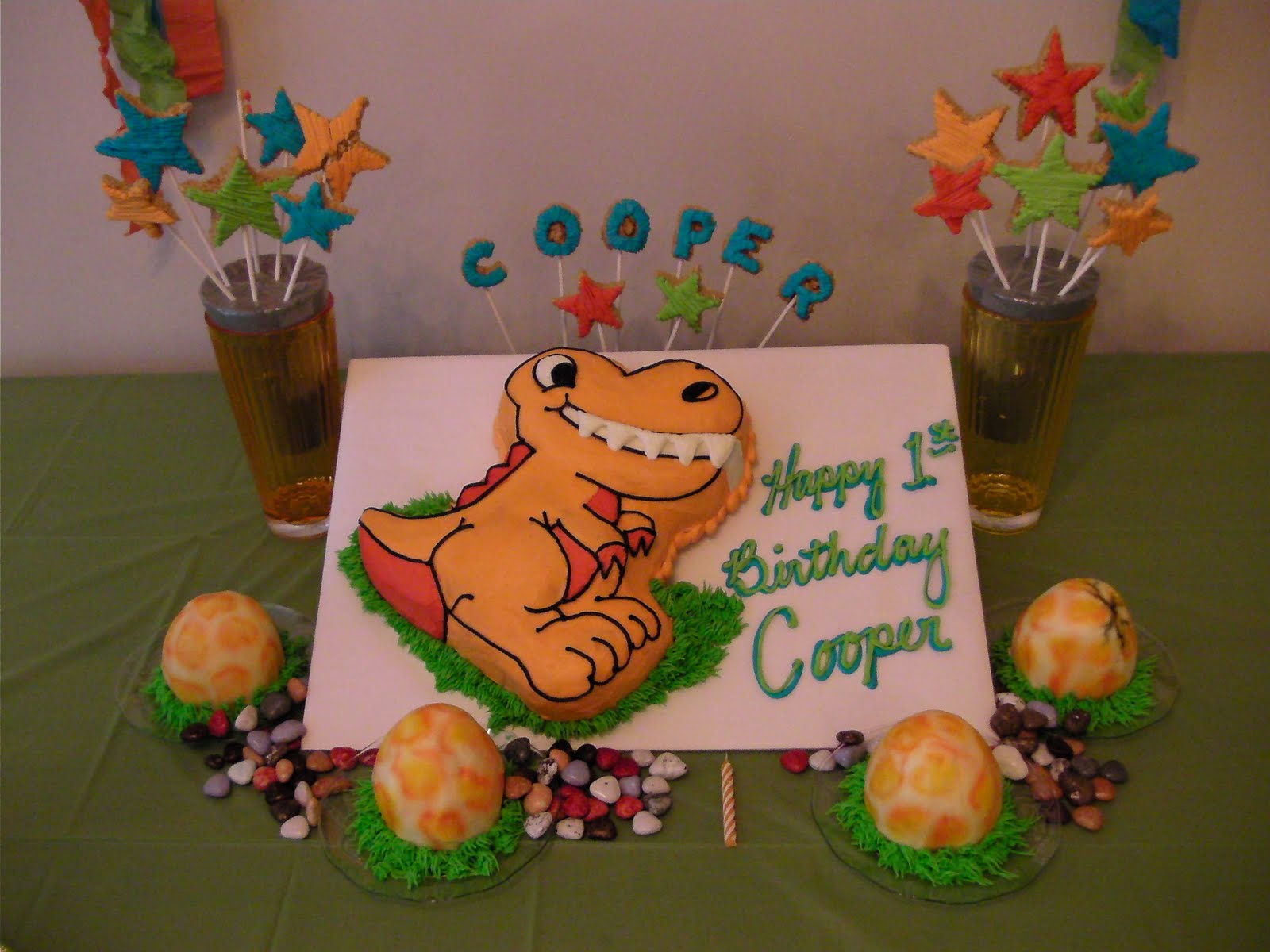 Dinosaur Birthday Party For 1 Year Old Image Inspiration of Cake