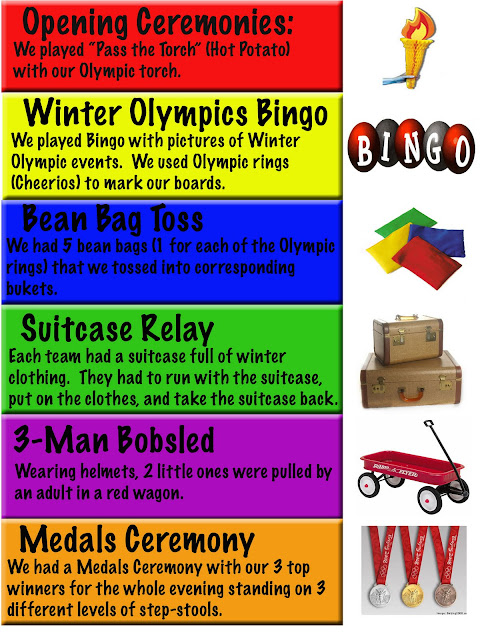 Here is a run-down of all of the events in our Olympics: