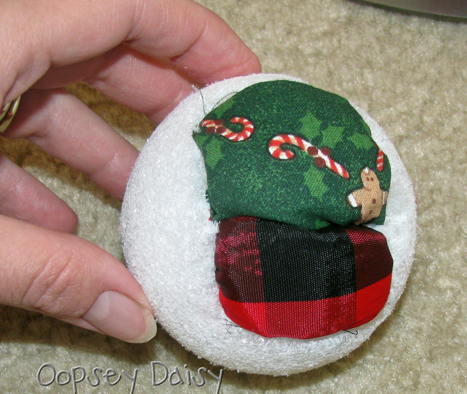 Styrofoam christmas ornaments - Begin By Taking Your First Fabric Scrap And Placing It On The Styrofoam Ball Use A Butter Knife To Push The Edges Of The Fabric Into The Styrofoam Ball
