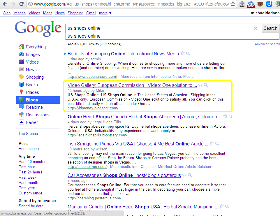 google blog search. (Google Blog Search Result)
