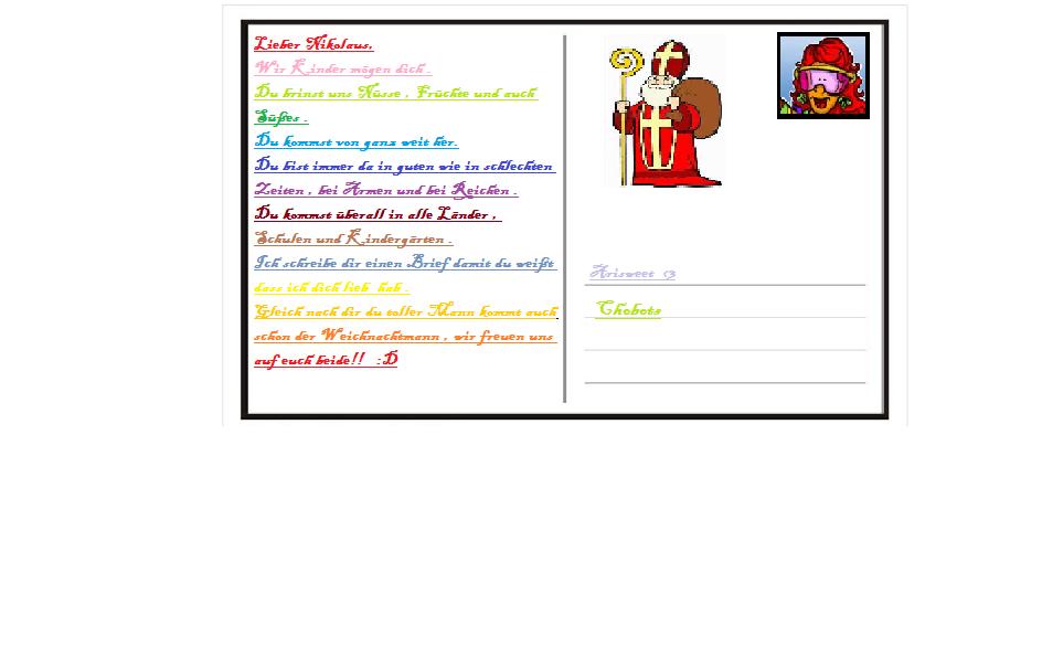 Brief Für Nikolaus : Arisweet mein nikolaus brief für den wettii