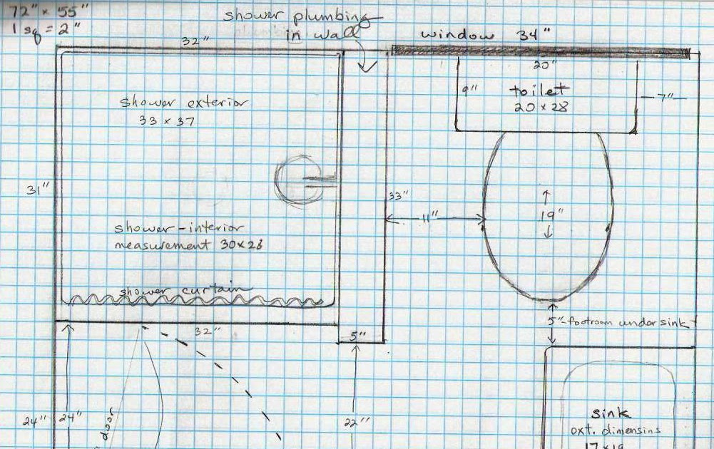 5 acres  u0026 a dream  bathroom plans on graph paper