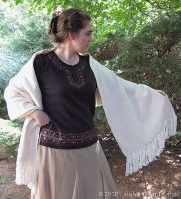 Plain weave slub shawl