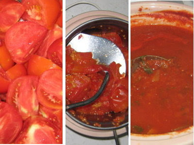 Steps in making pizza sauce