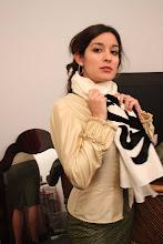 Chal en algodón bordado en pelo de potro.