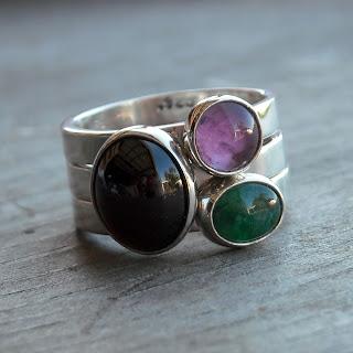 garnet amethyst emerald ring