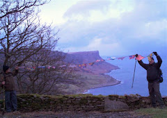 Flags overlooking Murlough Bay and Fair Head