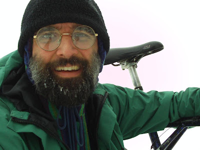 Cory smiling after bike ride across Lake Herman, winter solstice 2009