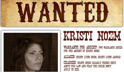 Kristi Noem wanted poster, from SD Dems