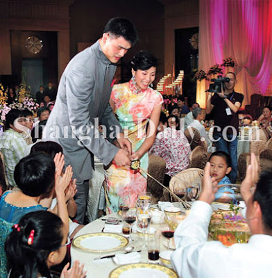 Yao Ming's wedding ceremony photo with Ye Li