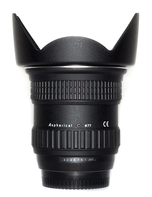 Tokina 11-16mm F2.8 AT-X 116 PRO DX Lens With BH 77A Hood Vertical Back View
