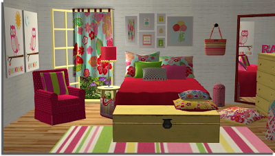 Sims 2 creations by tara girly bedroom for Sims 4 bedroom ideas