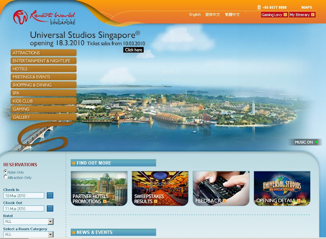 Review of Universal Studios Singapore Website(rwsentosa.com)
