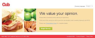 Cub Listens Food Customer Satisfaction Survey