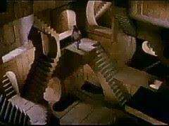 gravitationally-ambiguous staircases in tribute to M.C. Escher's 'Relativity' lithograph, appearing in the 1986 movie, 'Labyrinth'