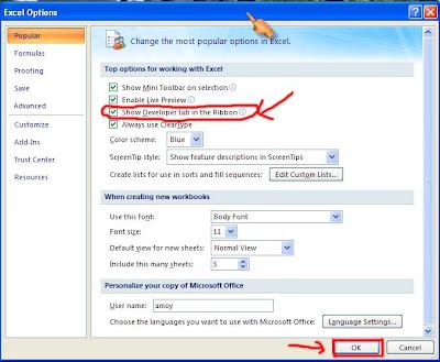 Mengaktifkan Menu Macro Dalam Microsoft Excel 2007