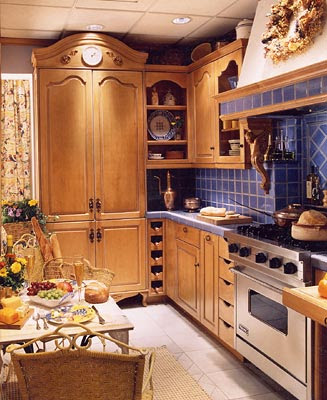 French blue ceramic tiles make a beautiful backsplash