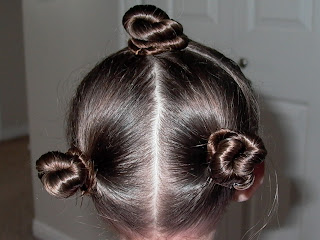Little Girl's Hairstyles – How to do a Twist Bun with Pull Through Ponytails