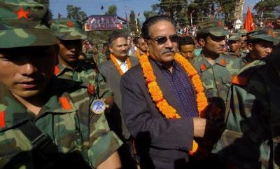 Chairman Prachanda and Dr. Baburam Bhattarai with the People's Liberation Army