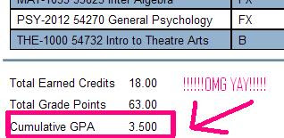 Screen Cap From Online Transcript saying my GPA is 3.5