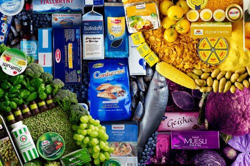 Fotografías de la comida clasificada u ordenada por colores
