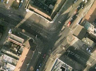 an aerial view of the traffic lighted junction in Barkingside High Street