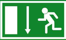 an exit sign showing a man running into a brick wall