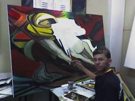 Sérgio Amaral e uma de suas obras