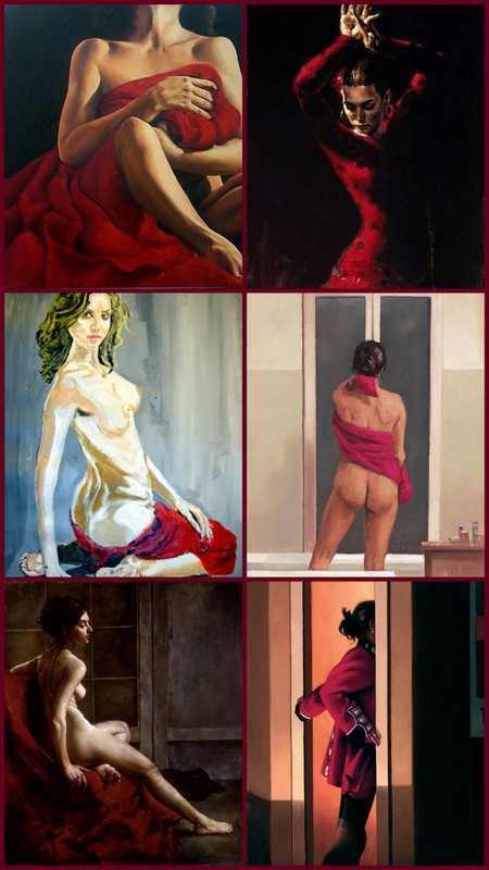 WOMAN IN RED, PAINTINGS