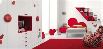 Girl-bedroom-with-bed-with-motley-stool-and-shelves