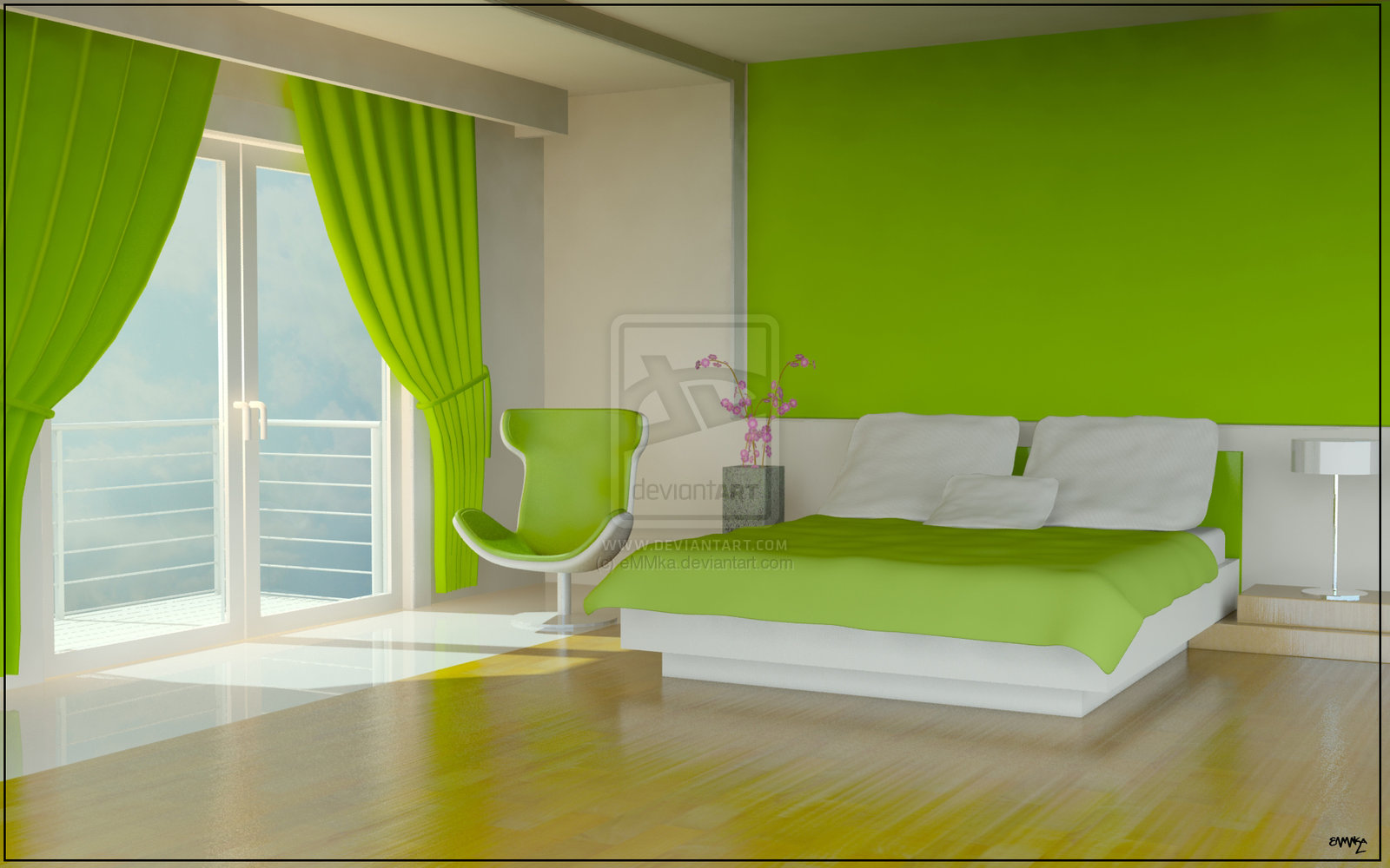 Green color bedrooms interior design ideas interior for Interior decoration for bedroom pictures