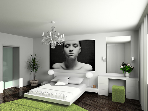 Luxury-elegant-modern-bedroom-interior-with-big-wall-photo-crystal-chandelier-white-bed