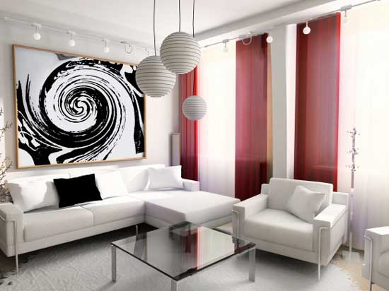 Exotic living modern red and white living room design ideas